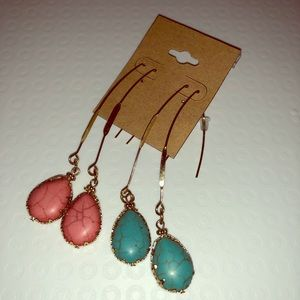 Two pair set of faux stone earrings red/turquoise!